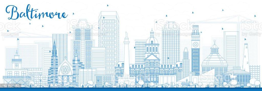 Outline Baltimore Skyline with Blue Buildings. vector art illustration