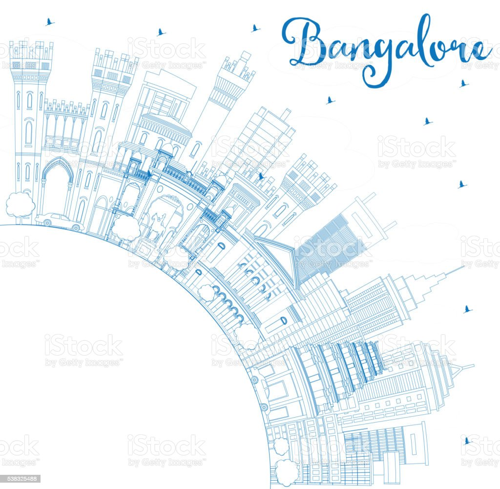 Outline Bangalore Skyline with Blue Buildings and Copy Space. vector art illustration