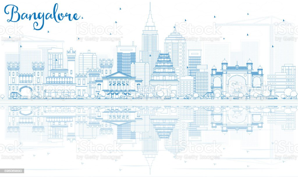 Outline Bangalore Skyline with Blue Buildings and Reflections. vector art illustration