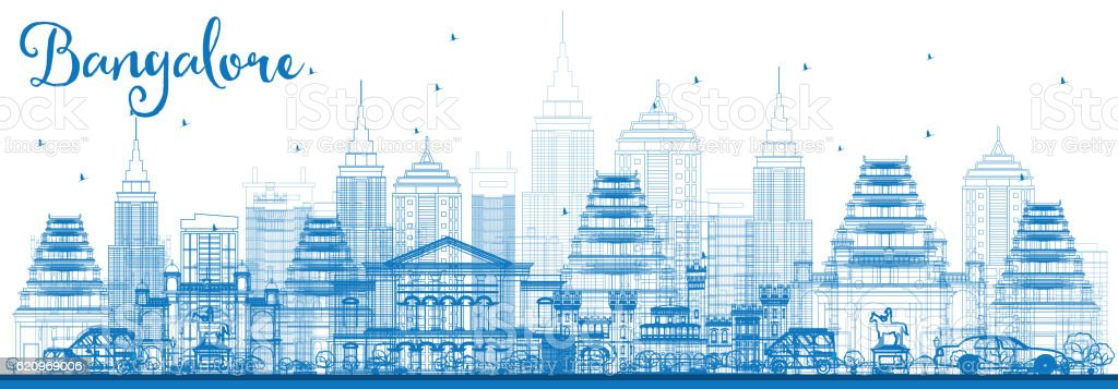 Outline Bangalore Skyline with Blue Buildings. vector art illustration