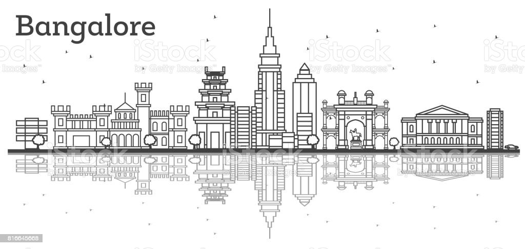Outline Bangalore Skyline with Historic Buildings and Reflections. vector art illustration