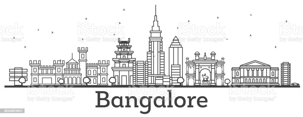 Outline Bangalore Skyline with Historic Buildings. vector art illustration