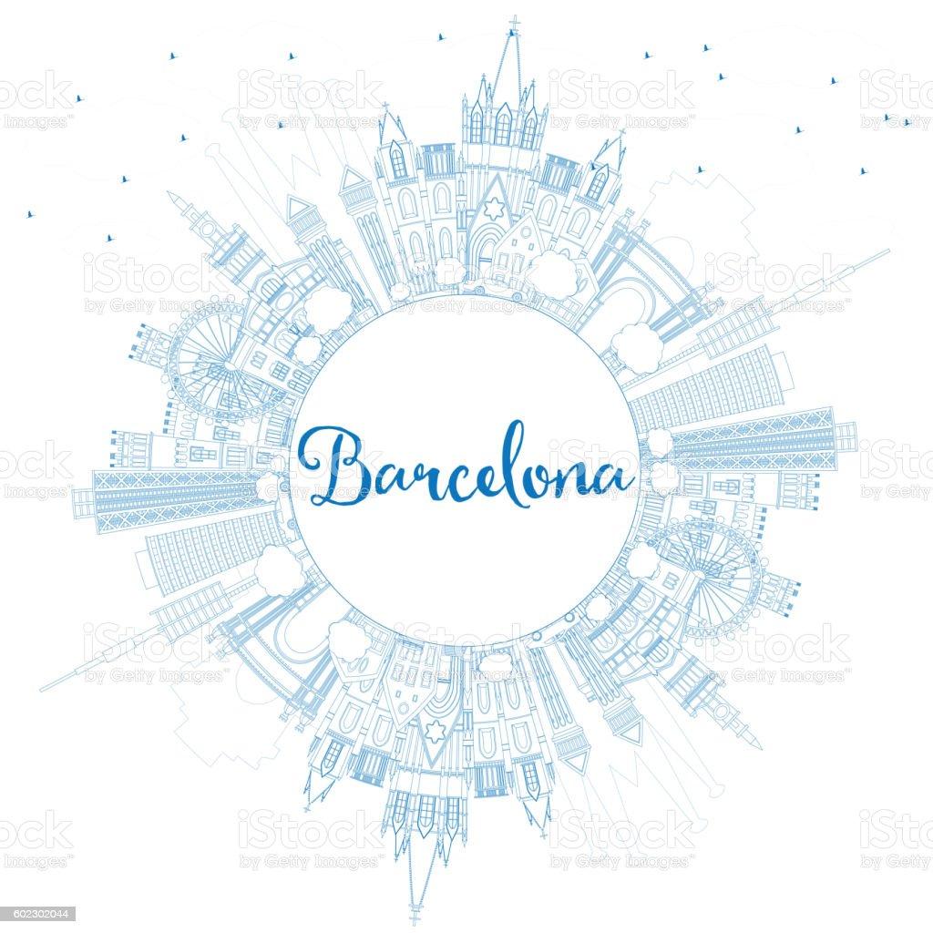 Resumen de Barcelona Horizonte con azul edificios y el espacio de la copia. - ilustración de arte vectorial