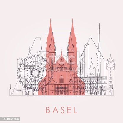 istock Outline Basel skyline with landmarks. Vector illustration. Business travel and tourism concept with historic buildings. Image for presentation, banner, placard and web site. 904864700