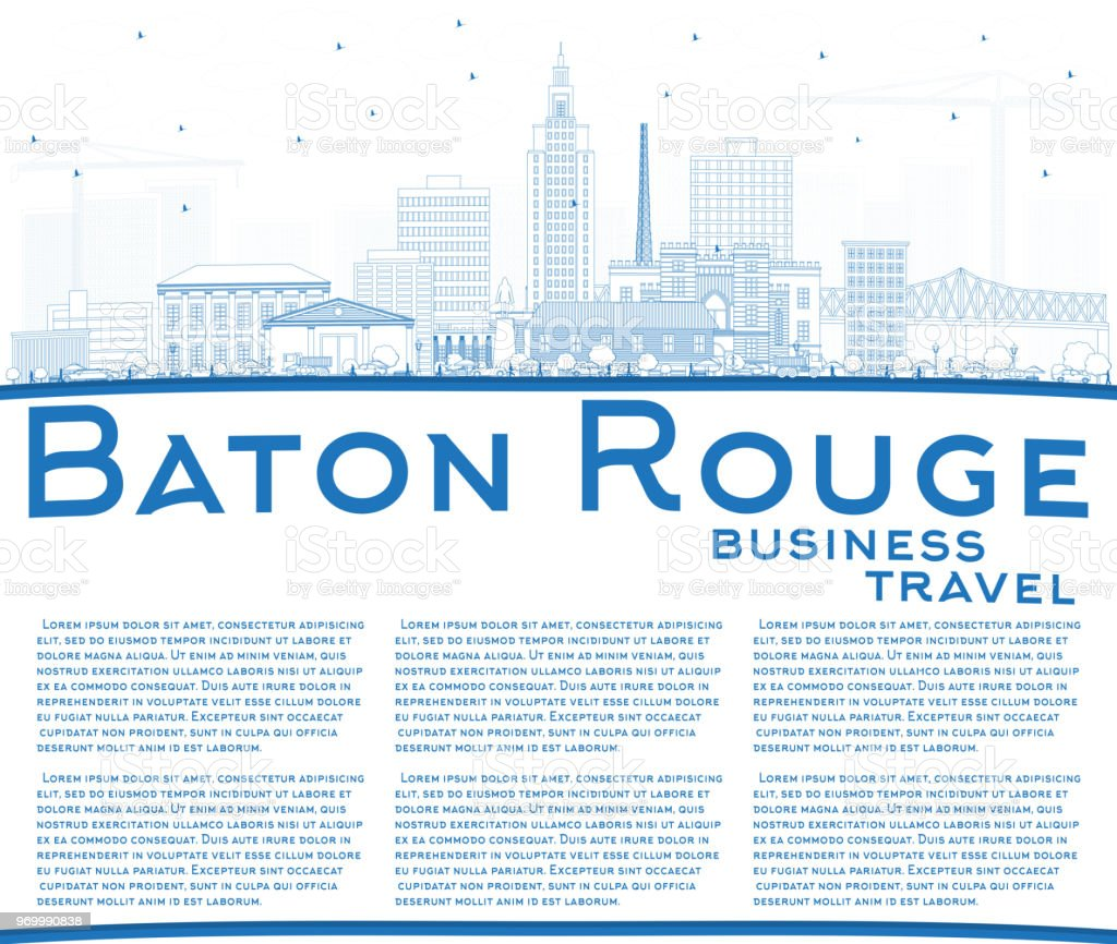 Outline Baton Rouge Louisiana City Skyline with Blue Buildings and Copy Space. vector art illustration