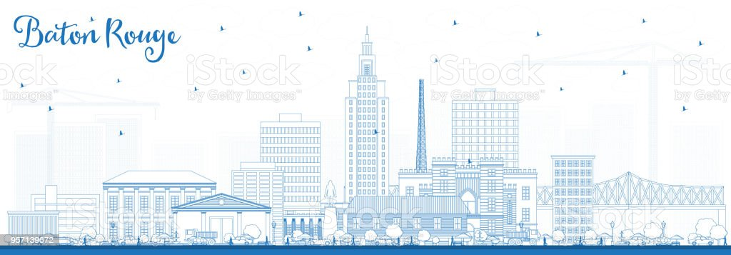 Outline Baton Rouge Louisiana City Skyline with Blue Buildings. vector art illustration