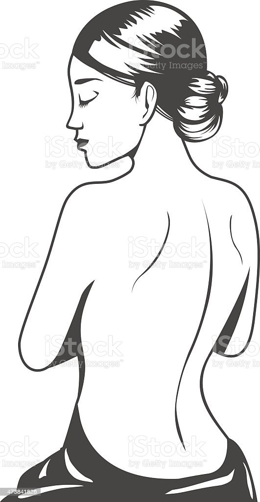 Outline beautiful woman back view vector art illustration