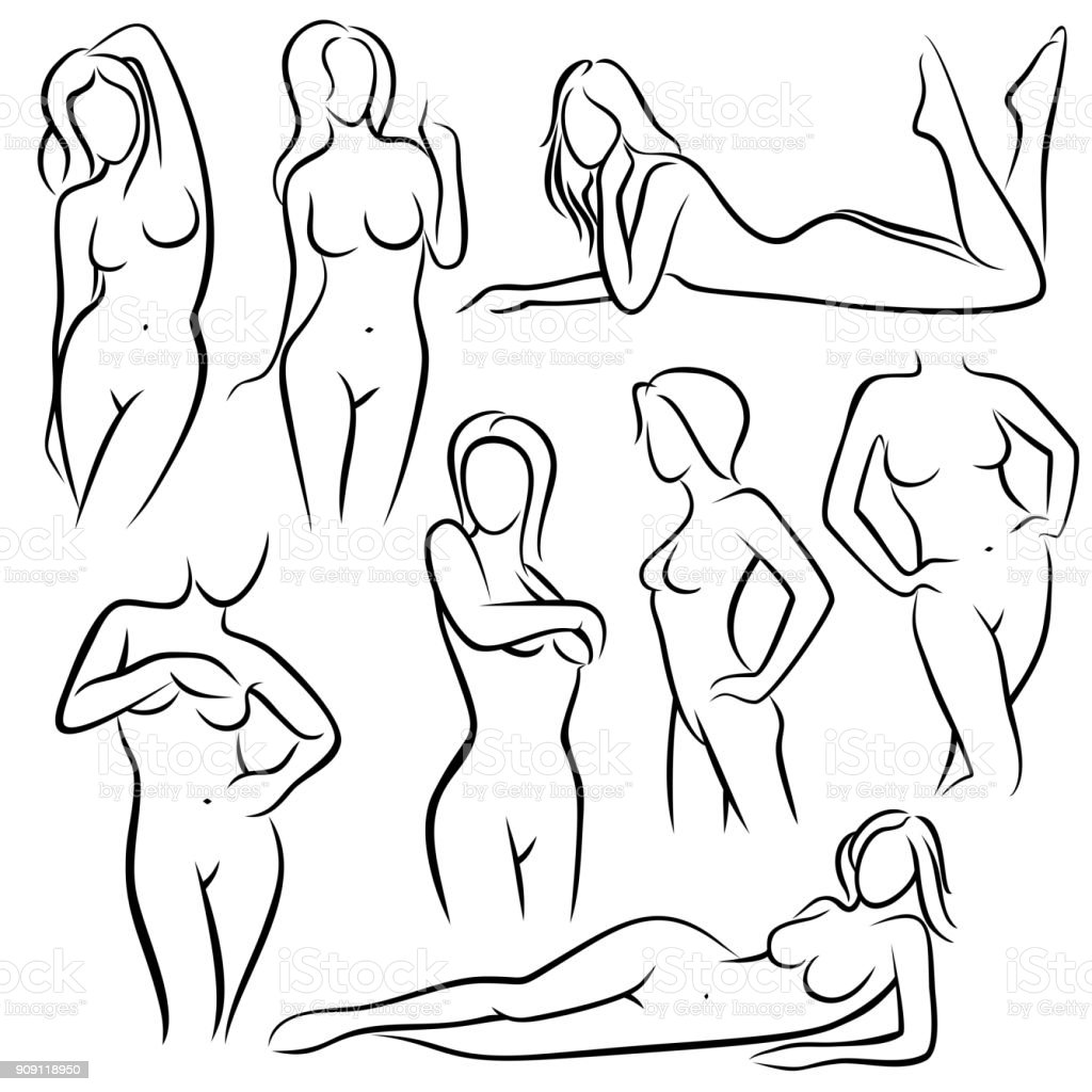 Outline Beautiful Woman Vector Silhouettes Line Female Body Beauty