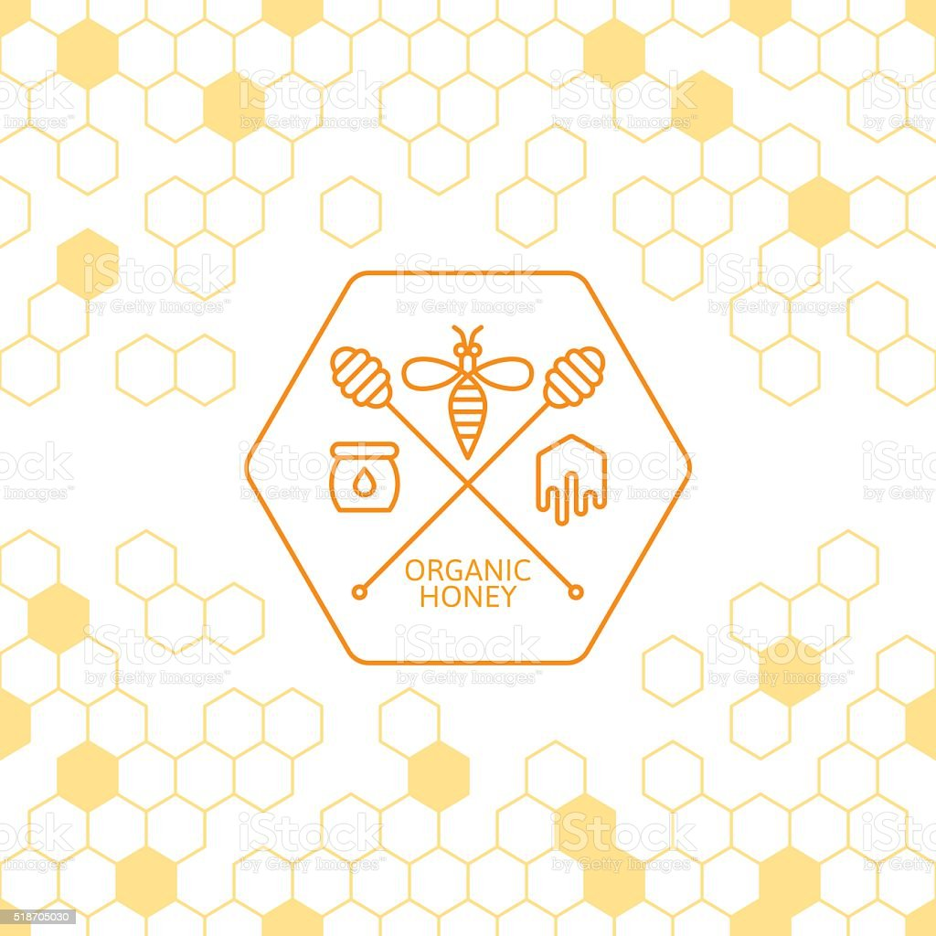 Outline bee and honey dipper symbol. vector art illustration