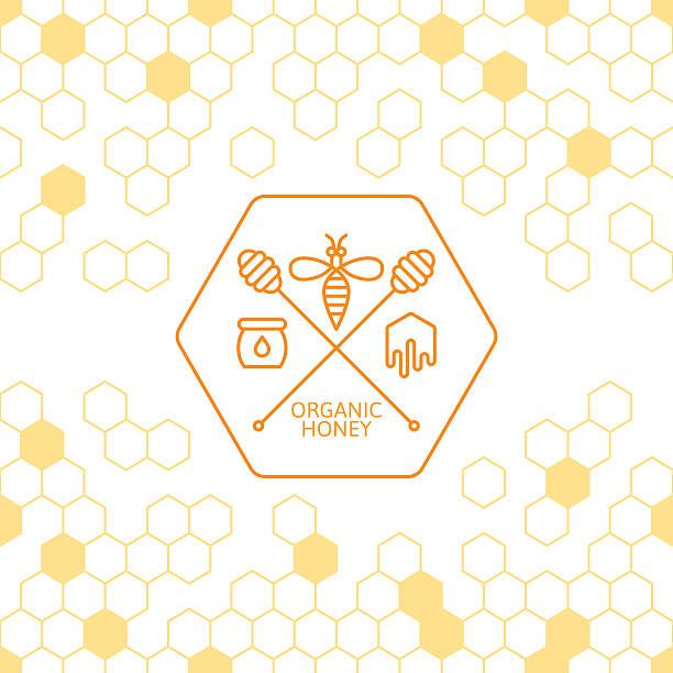Outline bee and honey dipper symbol. vector art illustration