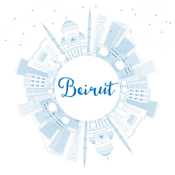 outline beirut skyline with blue buildings and copy space - beirut stock illustrations