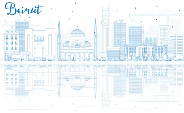 outline beirut skyline with blue buildings and reflections. - beirut stock illustrations