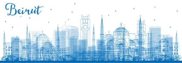 umriss beirut skyline mit blauen gebäude. - beirut stock-grafiken, -clipart, -cartoons und -symbole