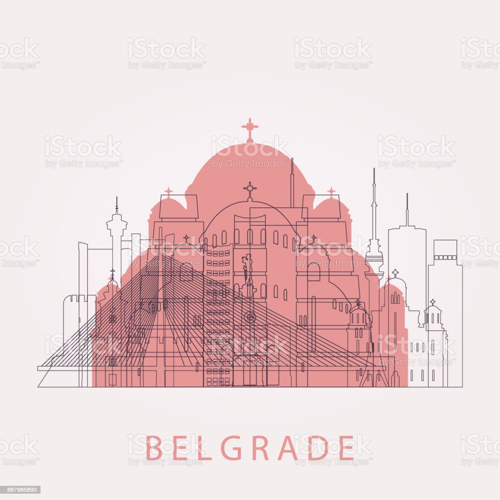 Outline Belgrade skyline with landmarks. Vector illustration. Business travel and tourism concept with historic buildings. Image for presentation, banner, placard and web site. vector art illustration