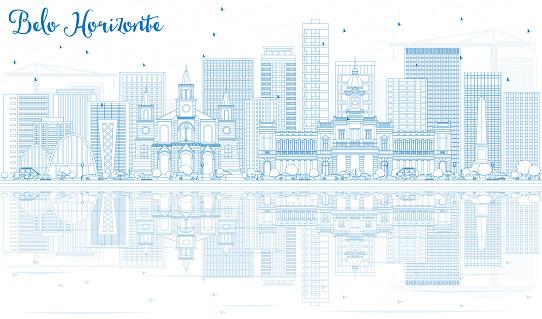 Outline Belo Horizonte Skyline with Blue Buildings.