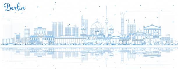 파란색 건물 및 반사 개요 베를린 독일 도시의 스카이 라인. - 베를린 stock illustrations