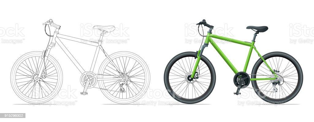 Übersicht Fahrrad Umriss Isoliert Auf Weißem Hintergrund Mountain ...