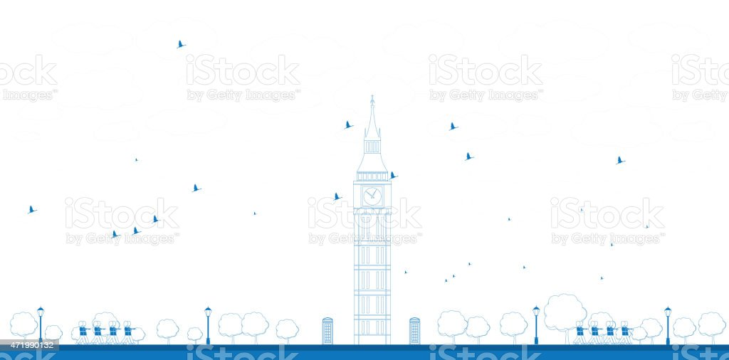Outline Big Ben Tower in London vector art illustration