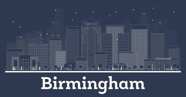 Outline Birmingham Alabama City Skyline with White Buildings. vector art illustration