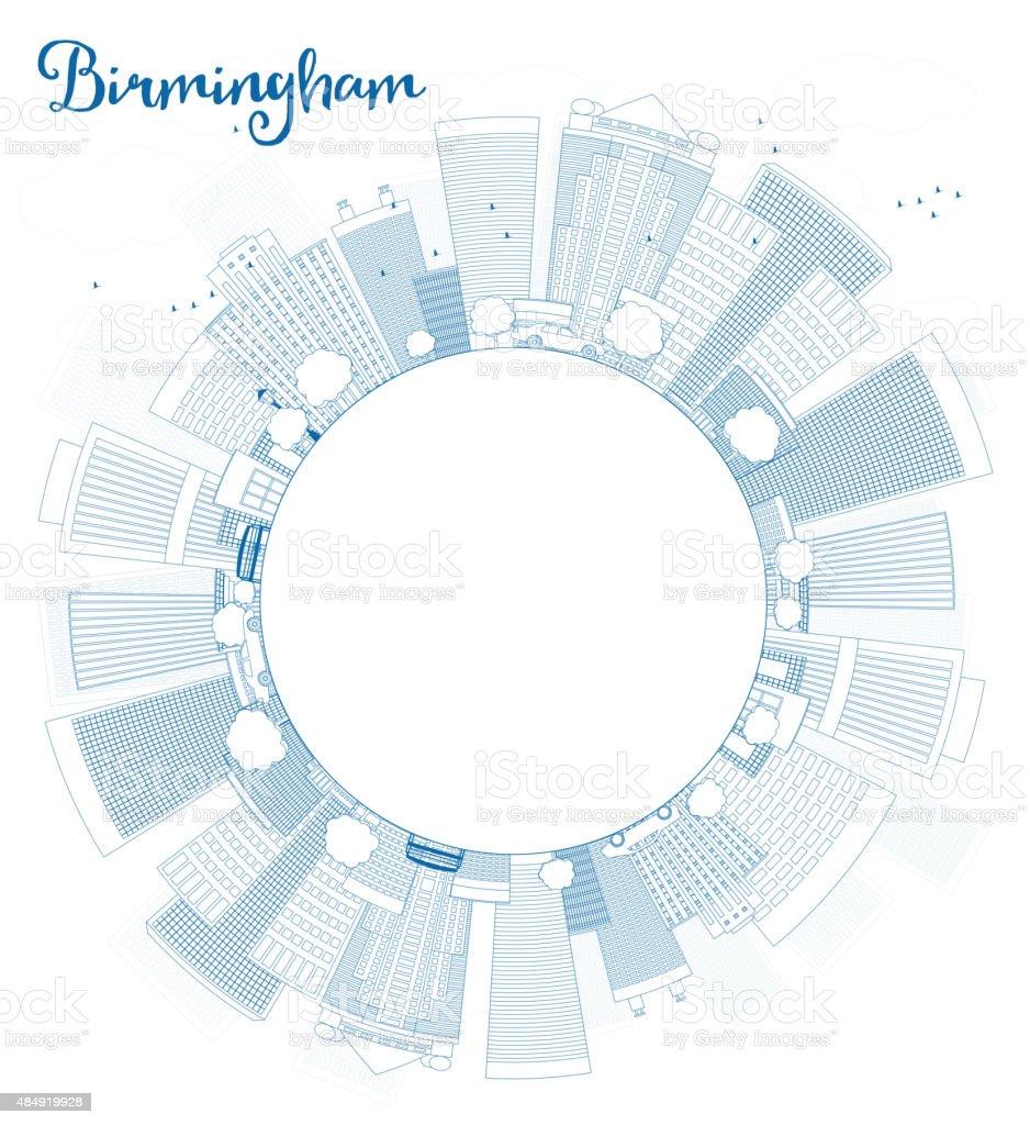 Outline Birmingham (Alabama) Skyline with Blue Buildings and cop vector art illustration