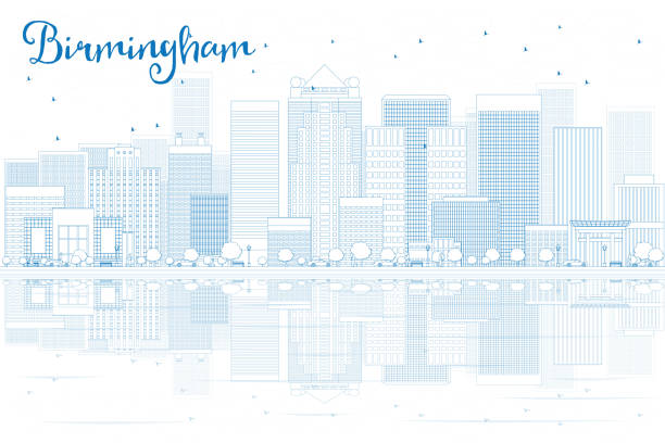 Outline Birmingham skyline with blue buildings and reflections. vector art illustration