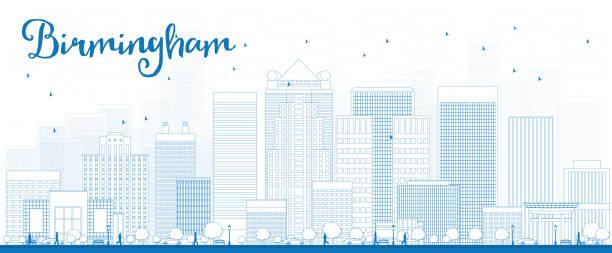 Outline Birmingham (Alabama) Skyline with Blue Buildings vector art illustration