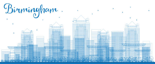 Outline Birmingham (Alabama) Skyline with Blue Buildings. vector art illustration