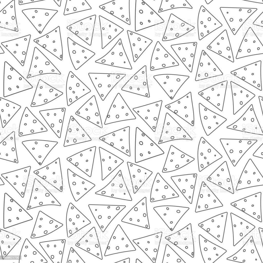 Patrón de nachos de dibujos animados negro de contorno - arte vectorial de Abstracto libre de derechos