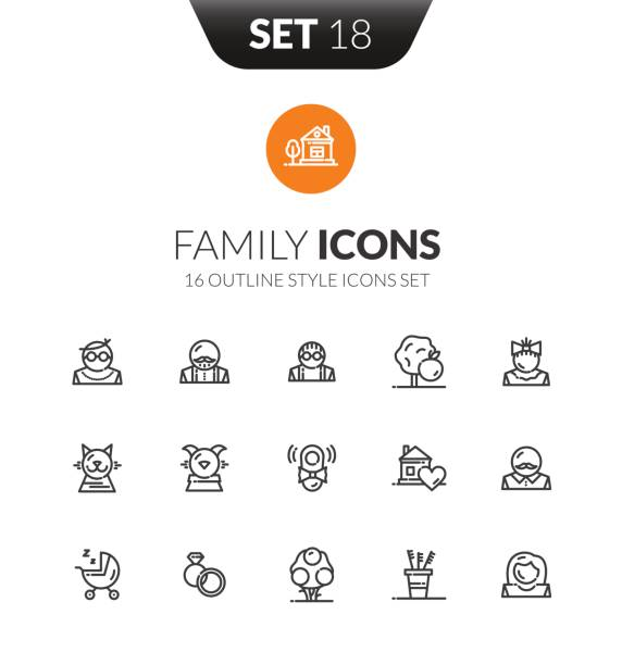 outline black icons set in thin modern design style - old man in black stock illustrations, clip art, cartoons, & icons