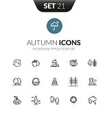 Outline black icons set in thin modern design style, flat line stroke vector symbols - autumn collection