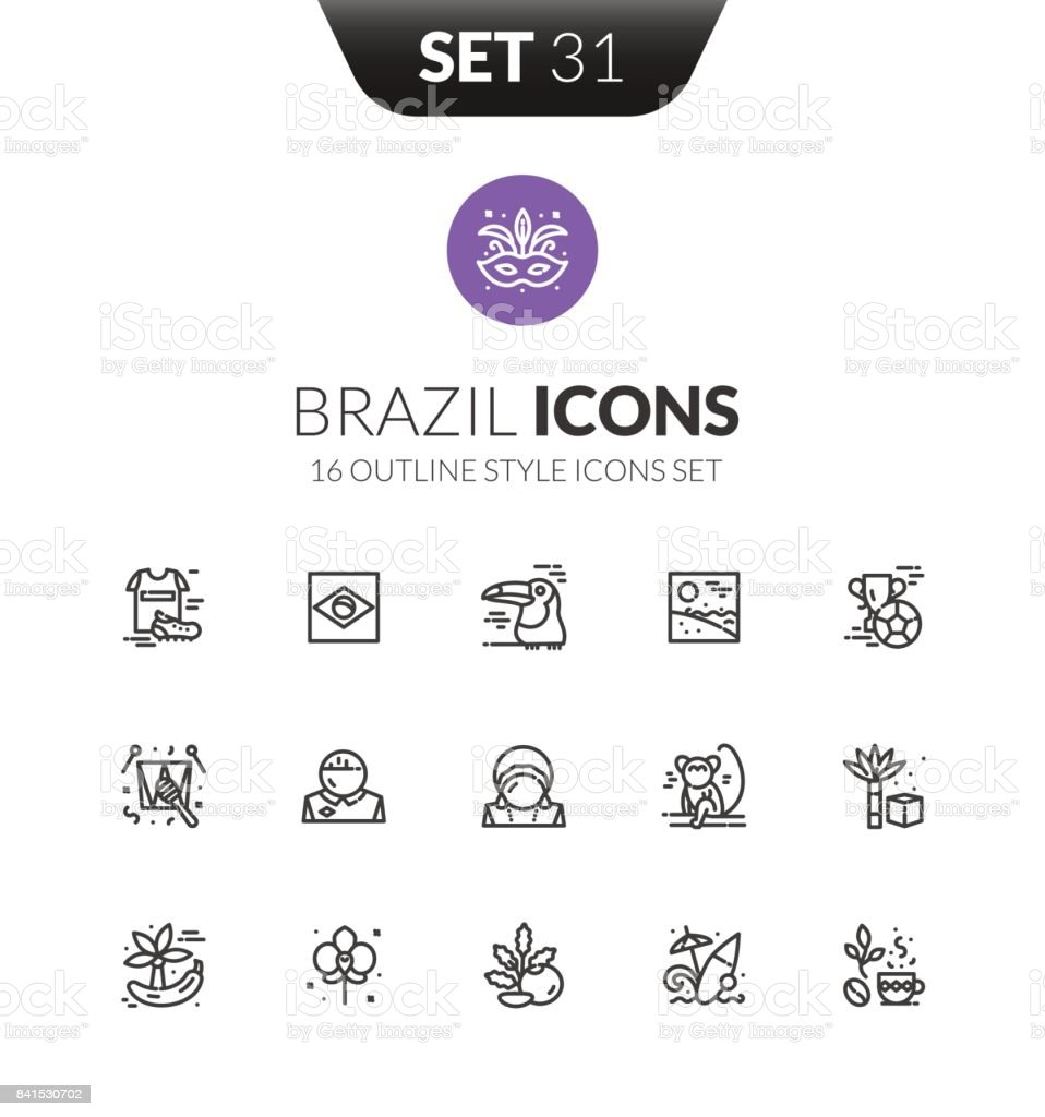 Outline black icons set in thin modern design style vector art illustration