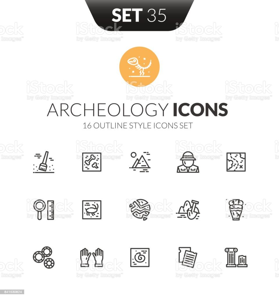 Outline black icons set in thin modern design style vector art illustration