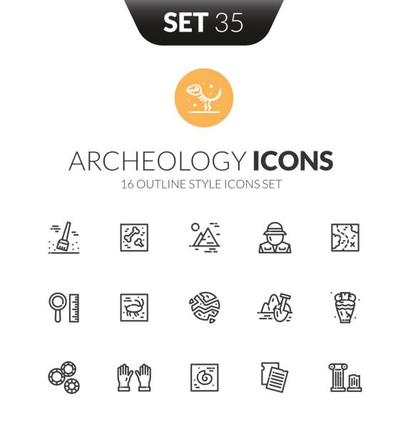 Outline black icons set in thin modern design style Outline black icons set in thin modern design style, flat line stroke vector symbols - archeology collection antiquities stock illustrations