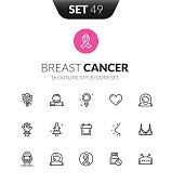 Outline black icons set in thin modern design style, flat line stroke vector symbols - breast cancer collection