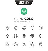 Outline black icons set in thin modern design style, flat line stroke vector symbols - gems collection