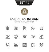 Outline black icons set in thin modern design style, flat line stroke vector symbols - American Indian collection