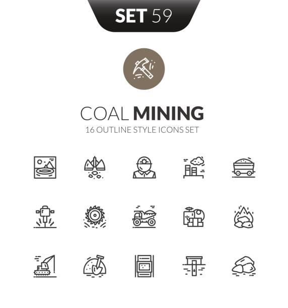 bildbanksillustrationer, clip art samt tecknat material och ikoner med beskriva svart ikoner i tunna moderna designstil - mining