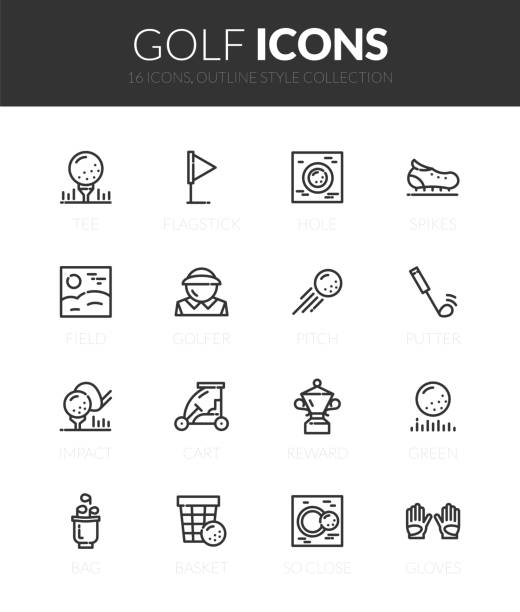 Outline black icons set in thin modern design style Outline black icons set in thin modern design style, flat line stroke vector symbols - golf collection golf icon stock illustrations