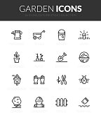 Outline black icons set in thin modern design style, flat line stroke vector symbols - garden collection