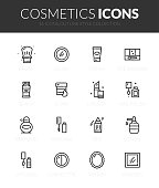Outline black icons set in thin modern design style, flat line stroke vector symbols - cosmetics makeup collection