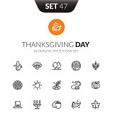Outline black icons set in thin modern design style, flat line stroke vector symbols - thanksgiving collection