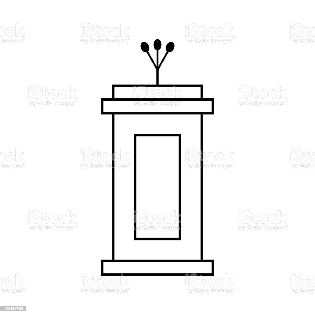 outline black tribune icon isolated on white background vector art illustration