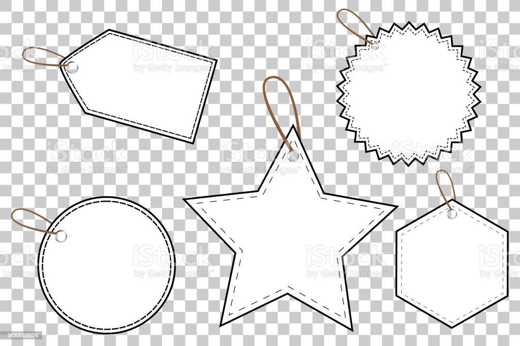 Outline Blank Tags at Transparent Effect Background vector art illustration