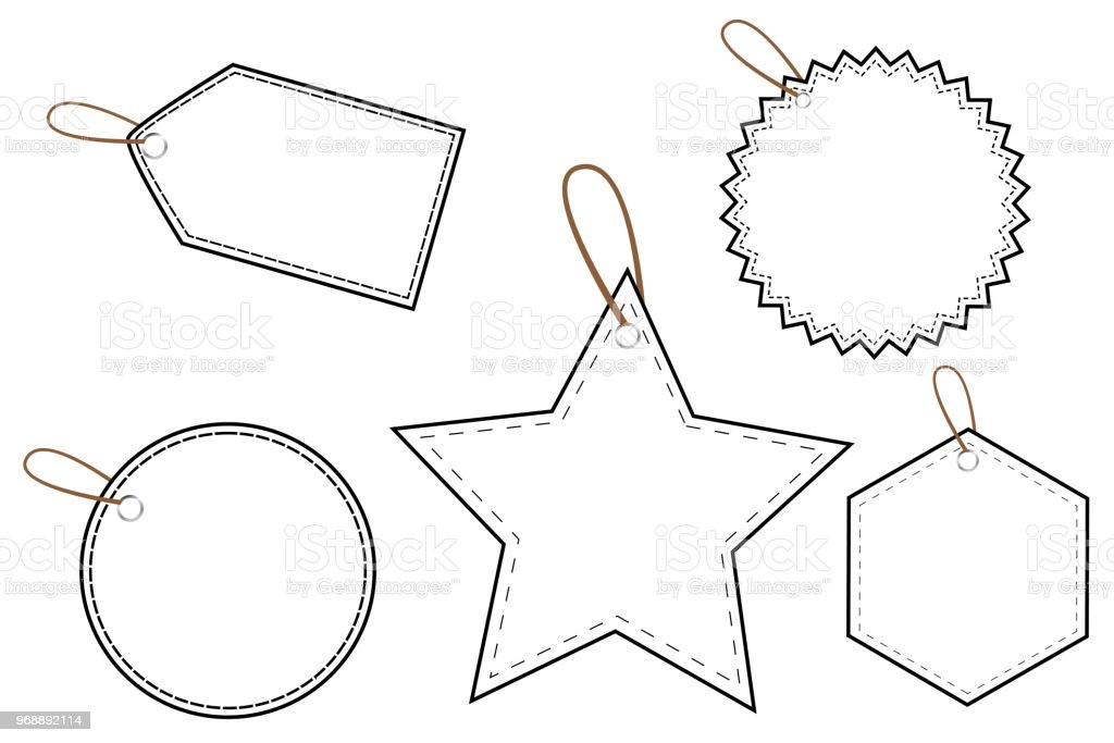 Outline Blank Tags vector art illustration