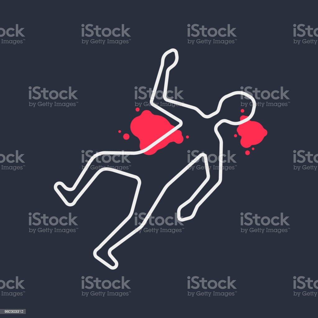 Outline Body Like Simple Crime Scene Stock Illustration - Download