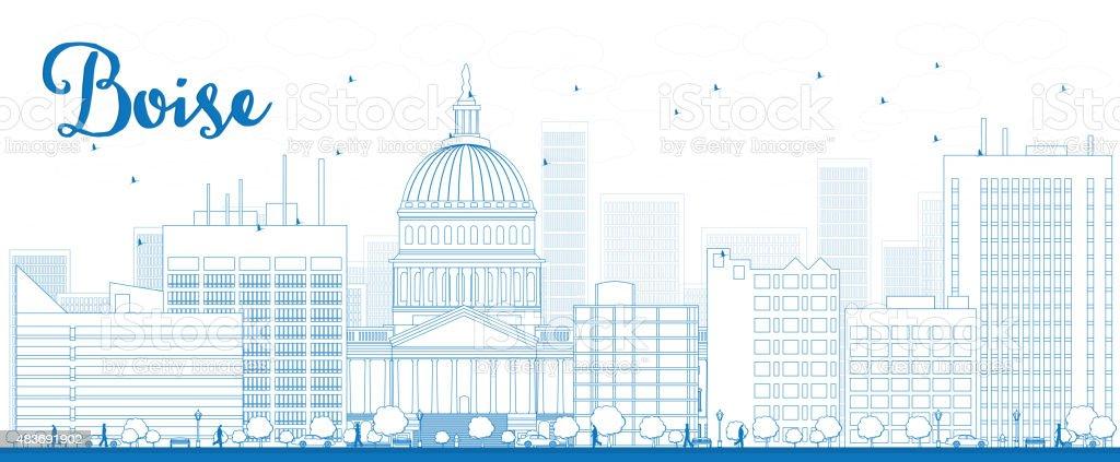 Outline Boise Skyline with Blue Building vector art illustration