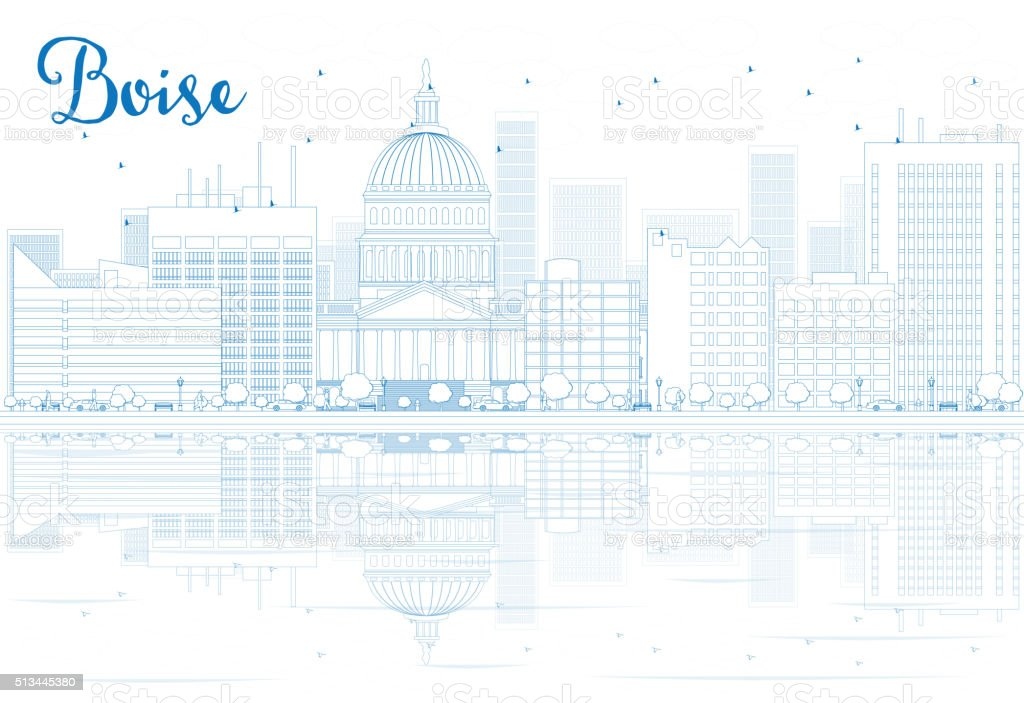 Outline Boise skyline with blue buildings and reflections. vector art illustration