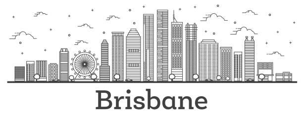 Outline Brisbane Australia City Skyline with Modern Buildings Isolated on White. vector art illustration