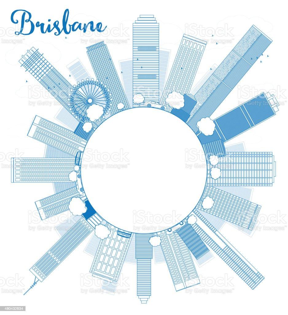 Outline Brisbane skyline with blue building and copy space vector art illustration