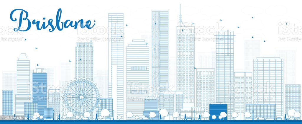 Outline Brisbane skyline with blue building vector art illustration